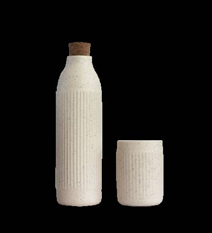 Set botella + vaso crudo
